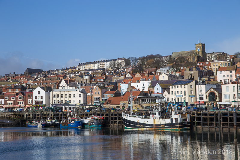Scarborough harbour & town in afternoon sunlight
