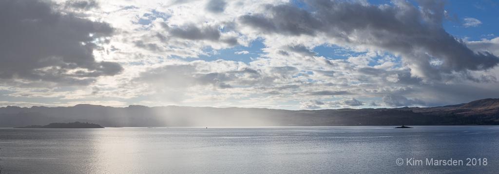 Sunlight streams over Loch Fyne (Pano)