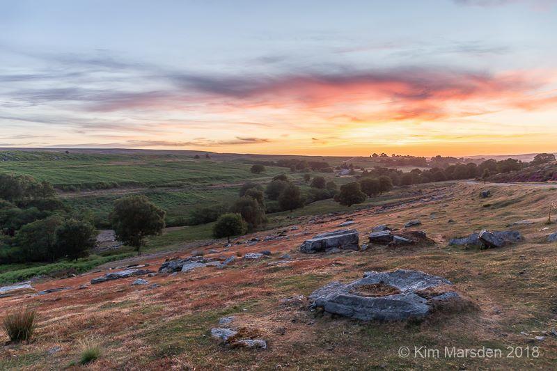 Sunset over North York Moors towards Goathland