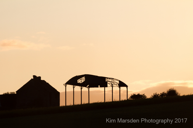 Wolds barn at sunset