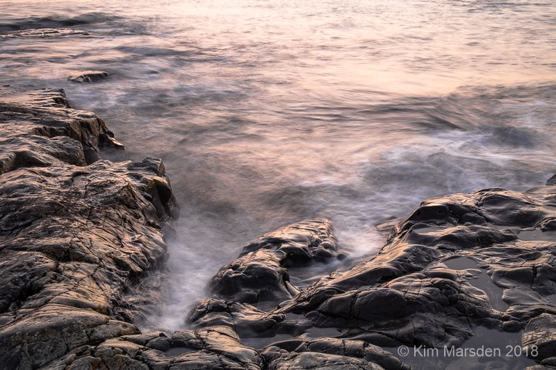 Rocks lit by early moring light
