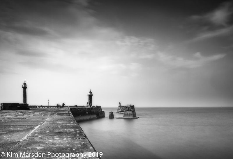 Calm Whitby piers
