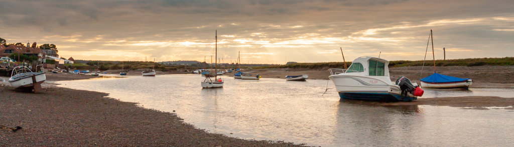 Sunset over Burnham Overy Staithe Panorama1