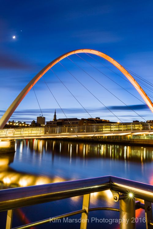 Newcastle Millennium Bridge at night