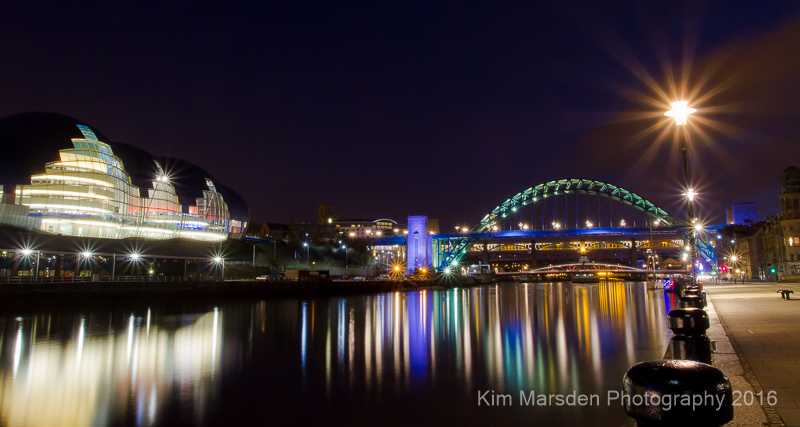 The Sage Gateshead & River Tyne from Millennium Bridge at night