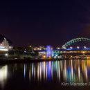 The Sage Gateshead & River Tyne from Millennium Bridge at night