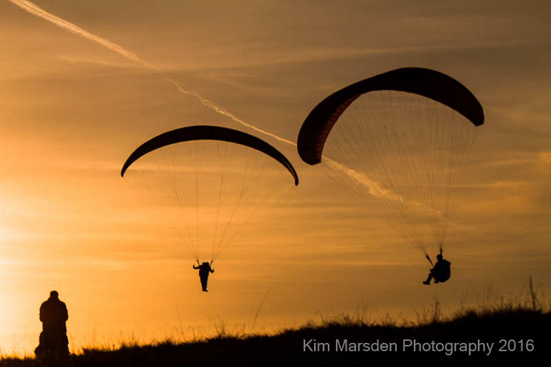 Handgliding into the sunset