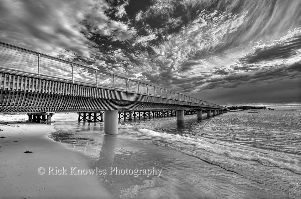 Pedestrian Bridge at Barwon Heads, Black and White