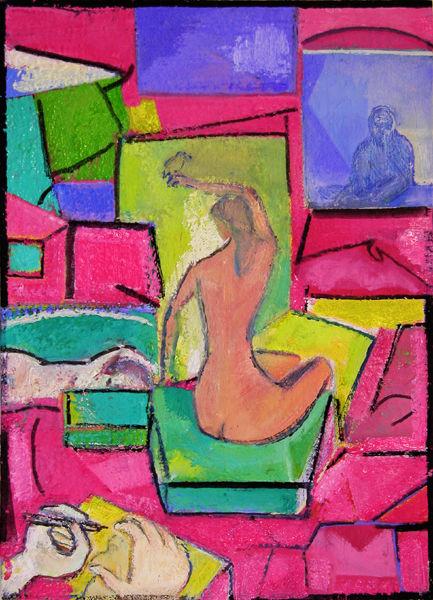 10 = KB2012 - artist n model - oil wood  ~DSCN2384~WX = © 2012 Kourosh Bahar