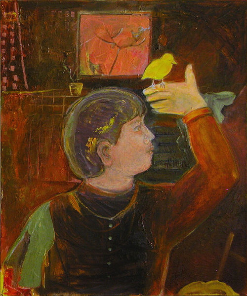 3 - KB2008 - boy n bird - 24x20 - oil can -c ~WX = © 2007 Kourosh Bahar