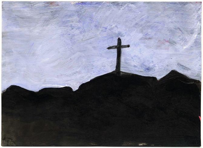 ©  Kourosh Bahar   cross, 2009, acrylic/postcard
