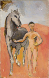 "©  Kourosh Bahar | after Picasso, boy leading horse, 1995, oil+pencil / board, 15.75 x 9.5"""