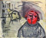 "©  Kourosh Bahar | man on street, 1997, acrylic / cardboard, 10.75 x 12.75"""