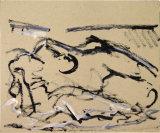 "©  Kourosh Bahar | lying nude IV, 2/2002, acrylic/paper, 14x17"""