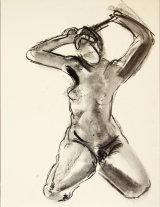 "©  Kourosh Bahar | nude front, 8/2000, charcoal/paper, 24x18"""