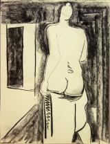 "©  Kourosh Bahar | standing nude II, 8/2000, charcoal/paper, 24x18"""