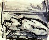 "©  Kourosh Bahar | lying nude I, 2/2002, acrylic/paper, 14x17"""