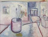 "©  Kourosh Bahar | studio w velasquez print, 1998, oil / cut canvas, 13.75 x 16"""