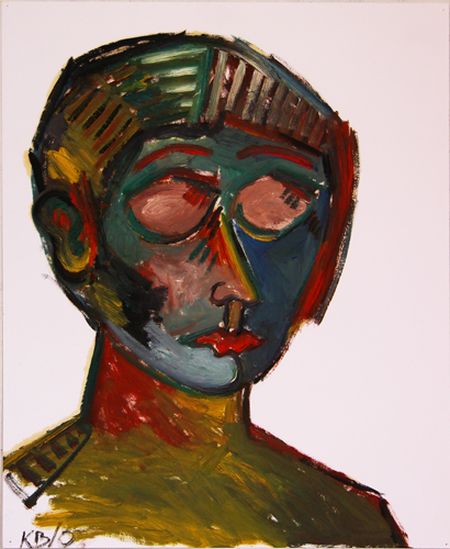 "©  Kourosh Bahar   woman w closed eyes, 2000, oil/paper, 17x14"""