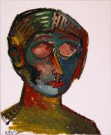 "©  Kourosh Bahar | woman w closed eyes, 2000, oil/paper, 17x14"""