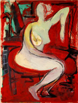 "©  Kourosh Bahar | variation II  [Rubens bathsheba], 2003, oil+charcoal / mattboard,  20x15"""