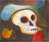 "©  Kourosh Bahar | figure & skull, 10/98, acrylic/paper, 14x17"""