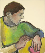 "©  Kourosh Bahar | man w hand resting on guitar, 8/2001, oil/paper, 17x14"""