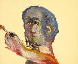 """©  Kourosh Bahar   selfpt w brush, 11/1997, oil/paper, 14x17"""""""