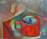 "©  Kourosh Bahar   cup n vase, 11/1997, oil/paper, 14x17"""
