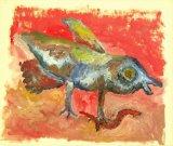 """©  Kourosh Bahar   bird & worm, 11/1997, oil/paper, 14x17"""""""