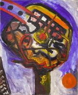 "©  Kourosh Bahar   head on hand, 12/97, acrylic/paper, 17x14"""