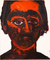 "©  Kourosh Bahar   selfpt in orange, 12/97, acrylic/paper, 17x14"""