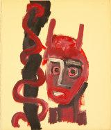 "©  Kourosh Bahar   serpent, 11/97, acrylic/paper, 17x14"""