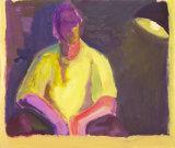 "©  Kourosh Bahar | selfpt w lamp, 1994, acrylic / paper, 14x17"""