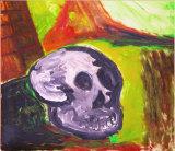 "©  Kourosh Bahar | skull & field, 10/98, acrylic/paper, 12.25 x 14.25"""