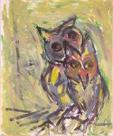 "©  Kourosh Bahar | owls I, 3/2002, oil/paper, 17x14"""