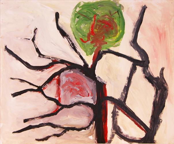 "©  Kourosh Bahar | tree, 2/98, acrylic/paper, 14x17"""