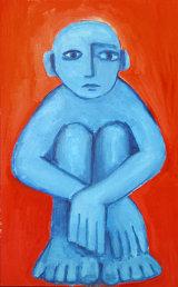 "©  Kourosh Bahar | blue boy, 1996, acrylic/paper, 28.25 x 17"""
