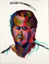 "©  Kourosh Bahar | self portrait, 1990, acrylic/canvas bd, 20x16"""