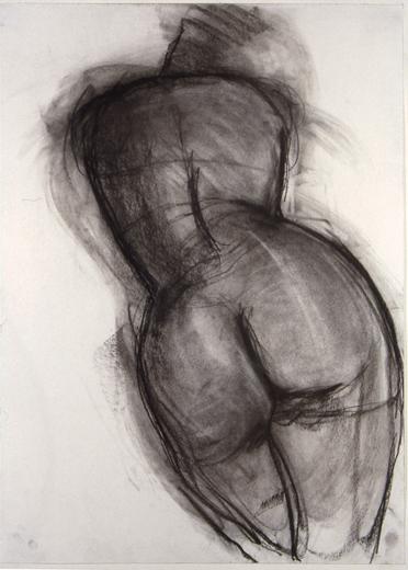 "©  Kourosh Bahar   female nude back, 1994, charcoal/paper, 24x18"""