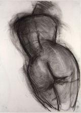 "©  Kourosh Bahar | female nude back, 1994, charcoal/paper, 24x18"""
