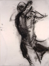 "©  Kourosh Bahar | male nude w raised arm, 1995, charcoal/paper, 24x18"""