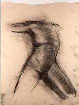 "©  Kourosh Bahar | nude fem torso front, 1992, charcoal/paper, 24x18"""