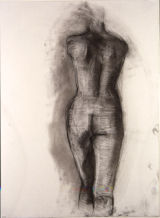 "©  Kourosh Bahar | tall female nude back, 1995, charcoal/paper, 24x18"""