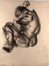 "©  Kourosh Bahar | sitting figure, 1992, charcoal/paper, 24x18"""