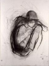 "©  Kourosh Bahar | squatting figure, 1995, charcoal/paper, 24x18"""