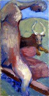 ©  Kourosh Bahar | man w bull, 1995, oil/panel