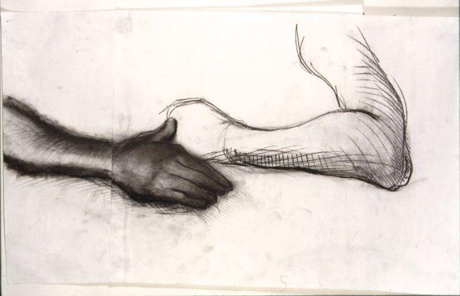 ©  Kourosh Bahar | hands, 1995, charcoal/paper