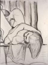 ©  Kourosh Bahar | nude lying on back w hair hanging, 1995, charcoal papar