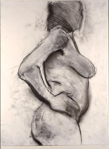 """©  Kourosh Bahar   nude hand on waiste profile, 1995, charcoal paper, 24x18"""""""